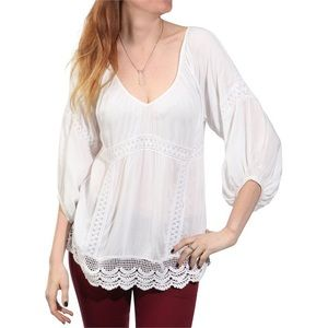 Billabong wave hello bohemian white tunic top med